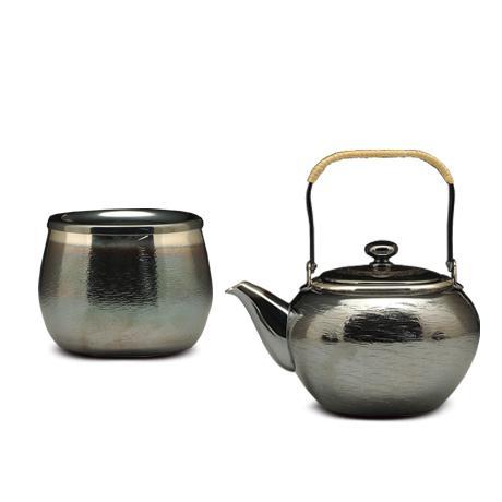 银川堂 铜镀银涟波纹茶器2件套(急须,建水