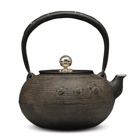 平丸蟹银镶嵌铁壶