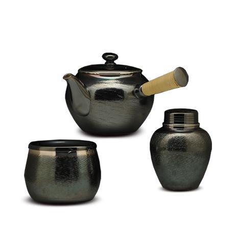 银川堂 铜镀银涟波茶器3件套(急须,建水,茶罐)