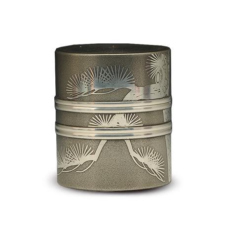 大阪锡器 苍松茶叶罐(筒型)