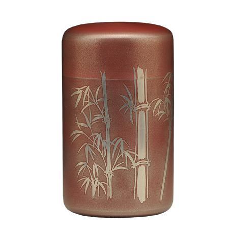大阪锡器 竹纹茶叶罐