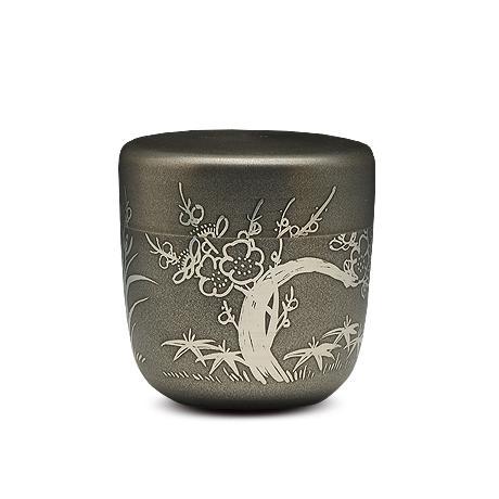 大阪锡器 梅花枣形茶叶罐