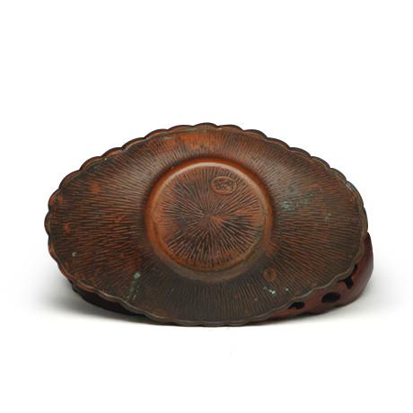 日本老铜器小判型柏叶茶托