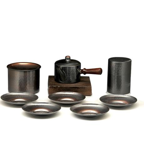 高冈铜器 锤目纹茶器4件套