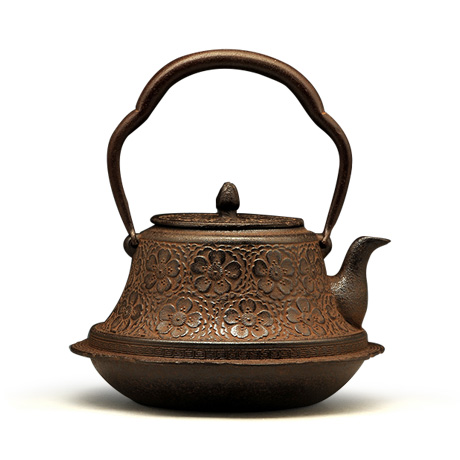 长文堂 富士形樱纹铁壶