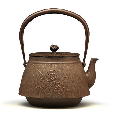 长文堂 牡丹见村铁壶