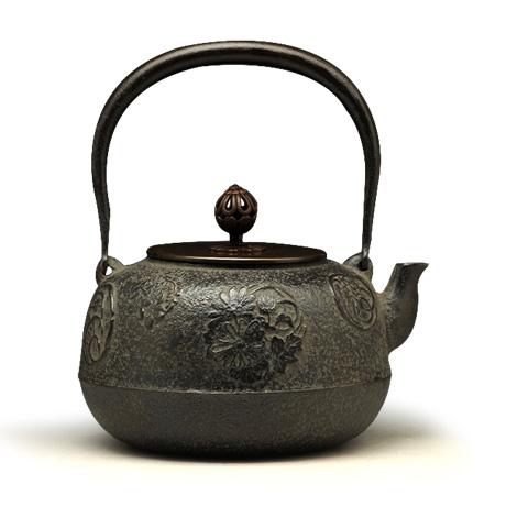菊地政光 平丸菊地纹铁壶