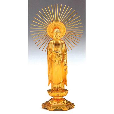 大渊银器 【阿弥陀如来像】纯金制佛像