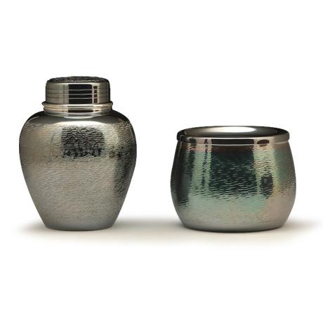 银川堂 铜镀银涟波纹茶器2件套(茶罐,建水)