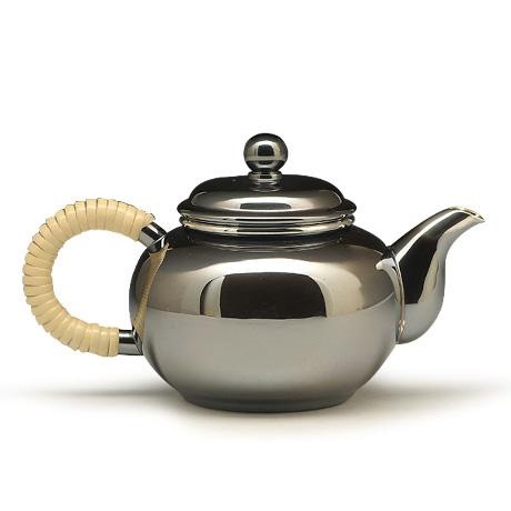 银川堂 铜镀银涟波纹茶器2件套(急须,茶罐)
