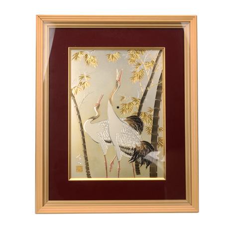 铜板雕金画 竹与鹤