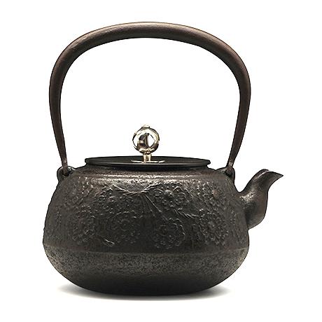 长寿堂 平丸樱铁壶(银摘)