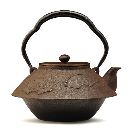 菊地保寿堂 末广形千鸟纹老铁壶