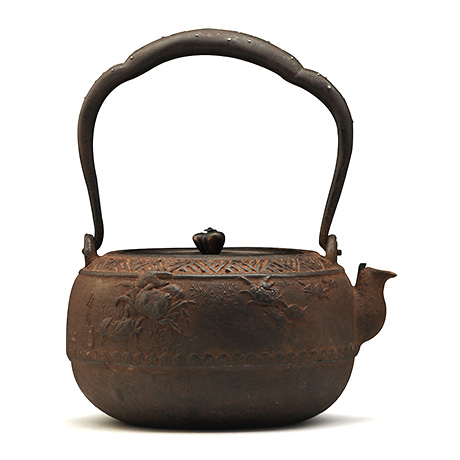 大国寿朗 汉诗蟹纹老铁壶