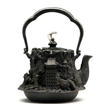 京风景地纹铁壶
