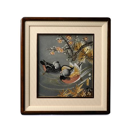 铜板雕金画 鸳鸯戏水