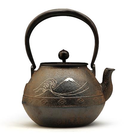 富士浪花银镶嵌铁壶