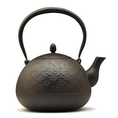 铃木盛久工房 丸形樱纹铁壶
