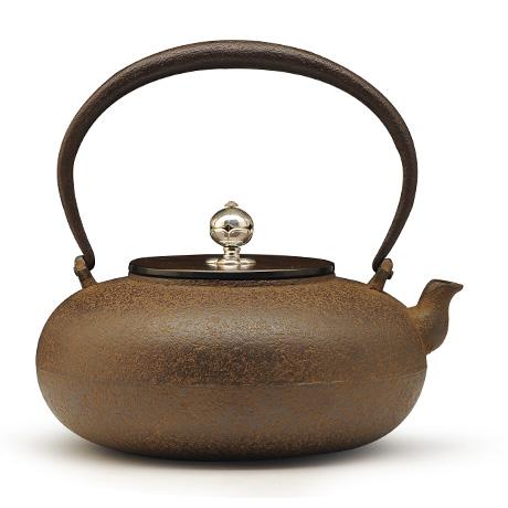清光堂 平丸形银摘铁壶