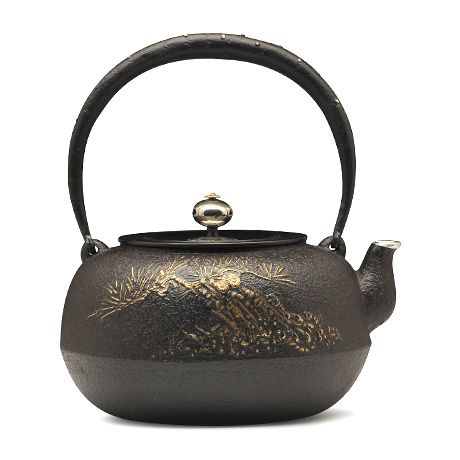 平丸老松金镶嵌铁壶(10号)