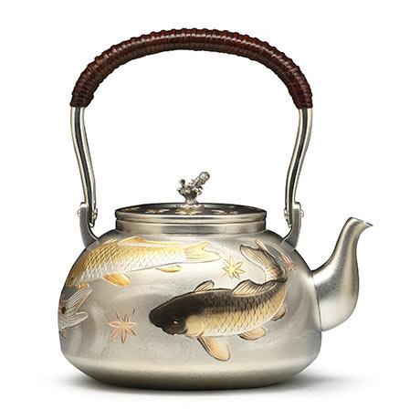 大渊银器 雕金鲤鱼银壶