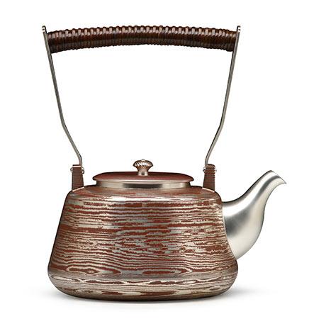 大渊银器 木目金银壶