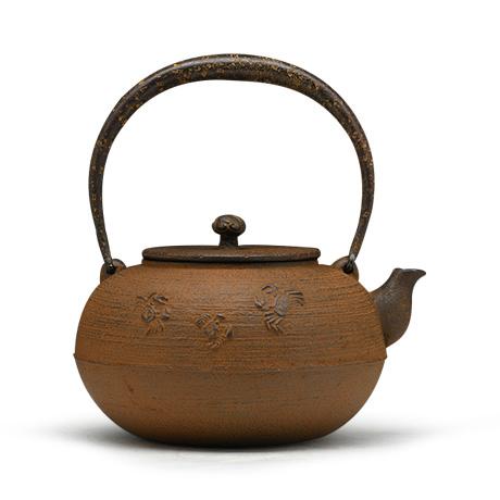 清光堂 平丸蟹铁盖砂铁壶