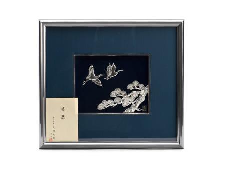 松 双鶴(大号) 纯银制金属绘画