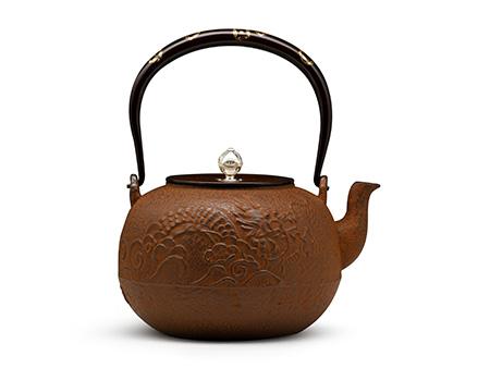 云色堂 丸形龙纹提梁纯金镶嵌(七宝)铁壶