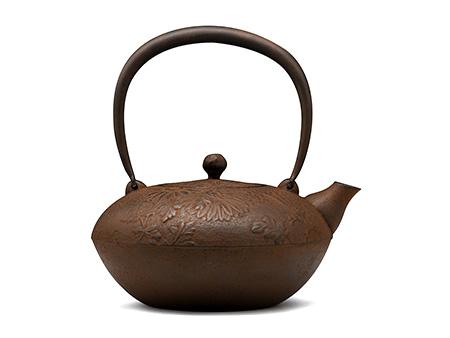 菊地保寿堂 算珠型菊纹铁壶