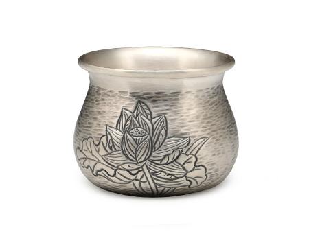 小笠银器 荷花錾刻小茶杯