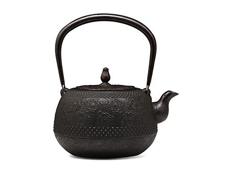 长寿堂 枣形带樱花铁壶