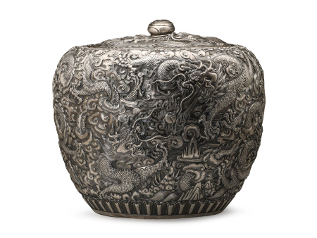 张家松 纯银龙纹水缸