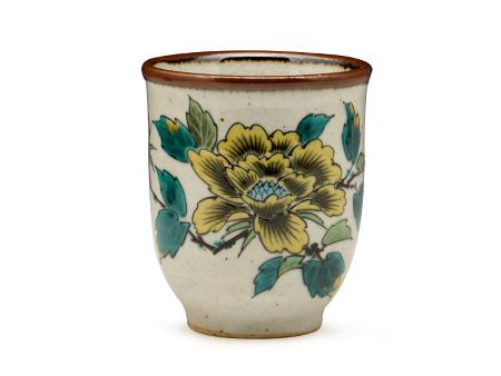 日本九谷烧 茶碗水杯 黄牡丹