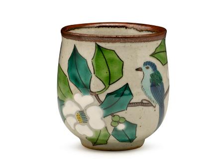 日本九谷烧 白山茶鸟 水杯