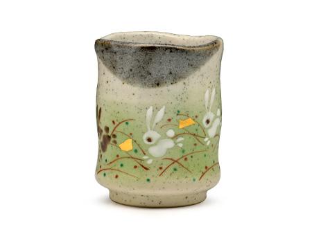 日本九谷烧 月兔 茶杯 绿色