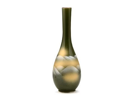 日本九谷烧 花瓶 连山