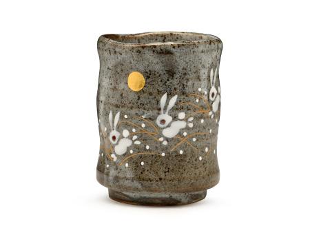 日本九谷烧 茶碗水杯 月兔 茶杯灰色