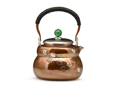 张家松 铜包银 葫芦形葫芦叶银壶