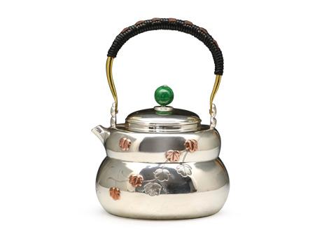 张家松 葫芦形葫芦叶银壶