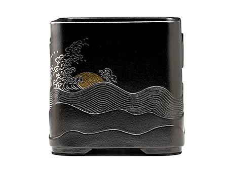 莺歌烧 四方形黑底海浪风炉
