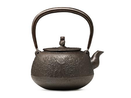 长寿堂 樱花纹砂铸铁壶