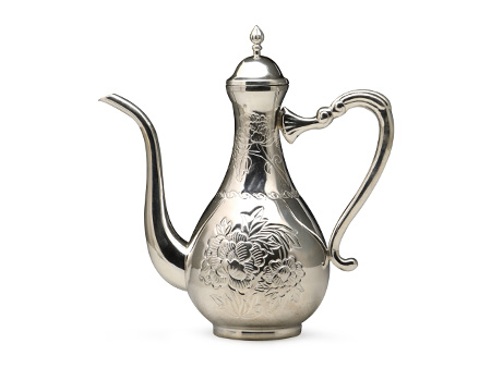 纯银牡丹錾刻酒壶