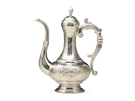 小笠银器 荷花錾刻酒壶