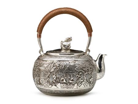 小笠银器  纯银錾刻银壶 游园