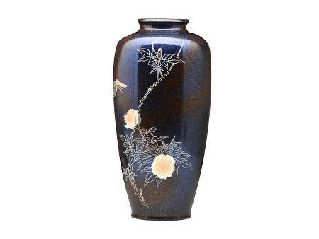 高冈铜器 细枣形 花蝶文花瓶