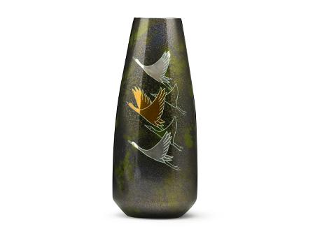 高冈铜器 蓬莱形 飞鹤花瓶