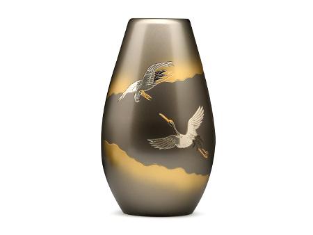 高冈铜器 黄昏 砲形双鹤花瓶