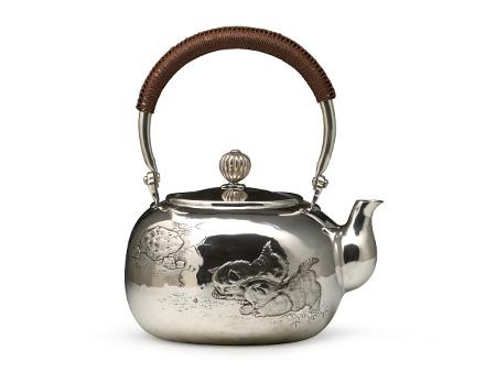 小笠银器 纯银錾刻银壶 猫