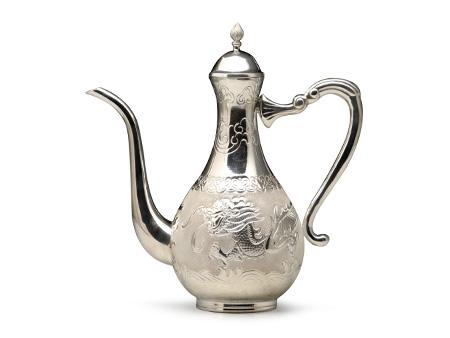 纯银云龙錾刻酒壶